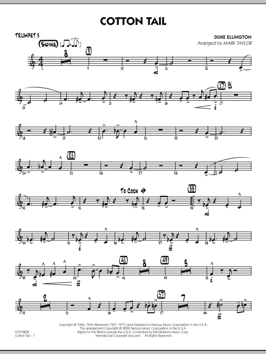 Mark Taylor Cotton Tail - Trumpet 3 sheet music preview music notes and score for Jazz Ensemble including 2 page(s)