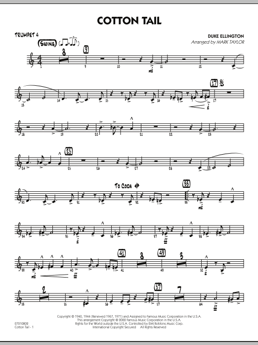 Mark Taylor Cotton Tail - Trumpet 4 sheet music preview music notes and score for Jazz Ensemble including 2 page(s)