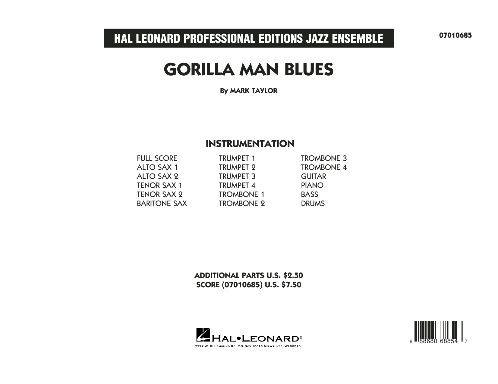 Mark Taylor Gorilla Man Blues - Conductor Score (Full Score) sheet music preview music notes and score for Jazz Ensemble including 19 page(s)