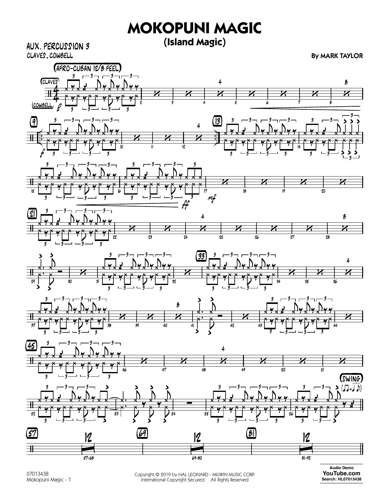 Mark Taylor Mokopuni Magic (Island Magic) - Aux. Percussion 3 sheet music preview music notes and score for Jazz Ensemble including 2 page(s)