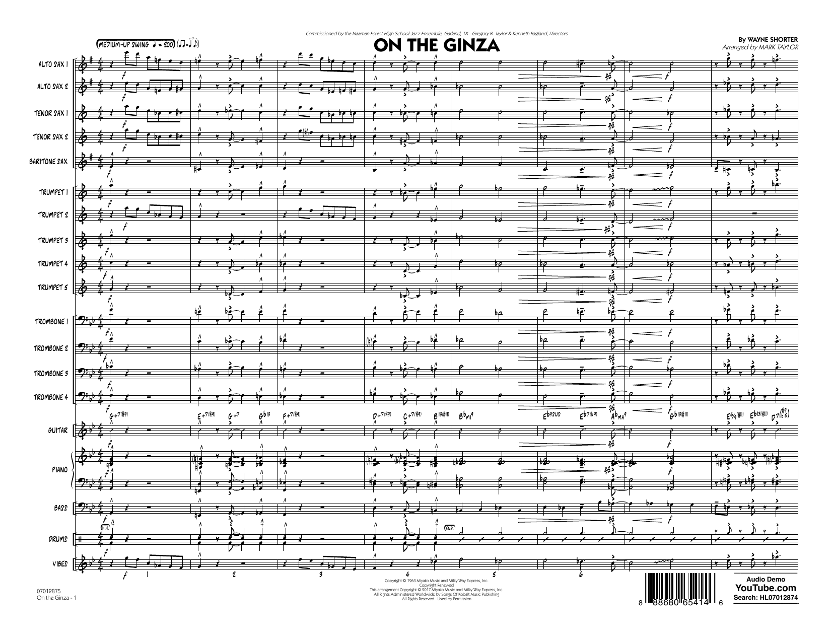 Mark Taylor On The Ginza - Conductor Score (Full Score) sheet music preview music notes and score for Jazz Ensemble including 20 page(s)