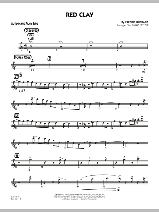 Mark Taylor Red Clay - Alternate Alto Sax sheet music preview music notes and score for Jazz Ensemble including 3 page(s)