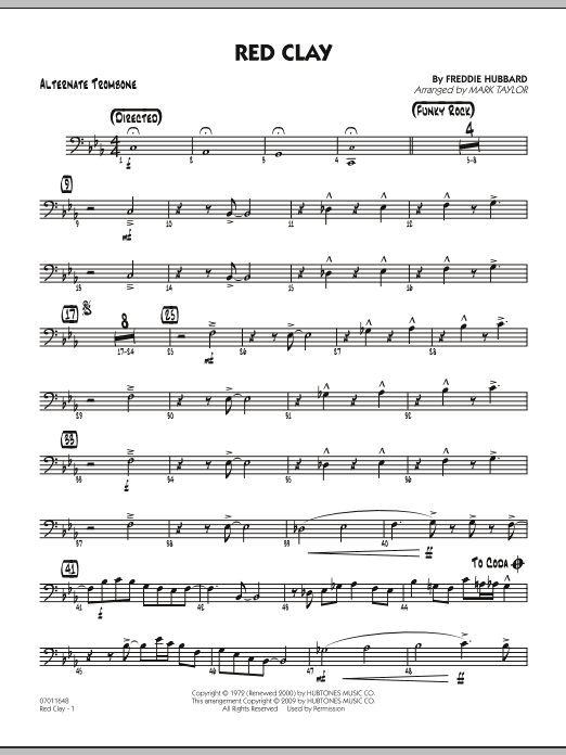 Mark Taylor Red Clay - Alternate Trombone sheet music preview music notes and score for Jazz Ensemble including 2 page(s)