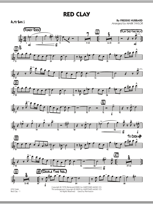 Mark Taylor Red Clay - Alto Sax 1 sheet music preview music notes and score for Jazz Ensemble including 2 page(s)