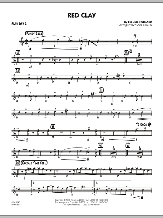 Mark Taylor Red Clay - Alto Sax 2 sheet music preview music notes and score for Jazz Ensemble including 2 page(s)