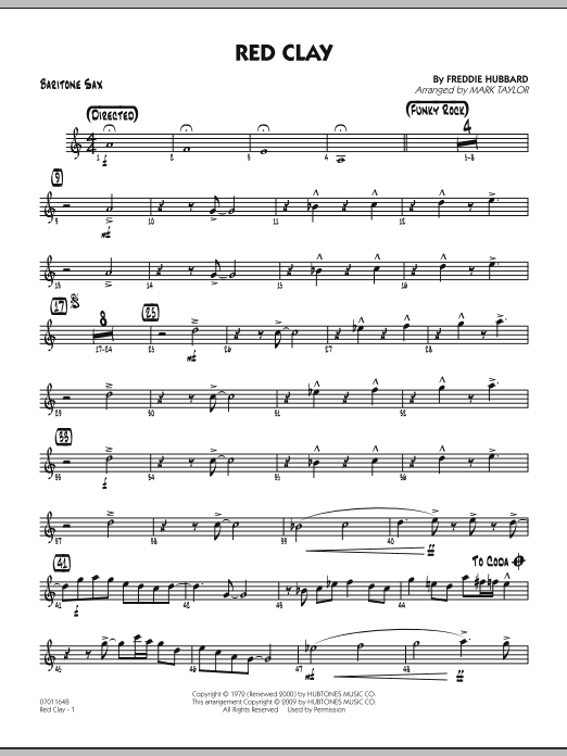Mark Taylor Red Clay - Baritone Sax sheet music preview music notes and score for Jazz Ensemble including 2 page(s)