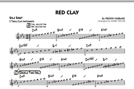 Mark Taylor Red Clay - C Solo Sheet sheet music preview music notes and score for Jazz Ensemble including 2 page(s)