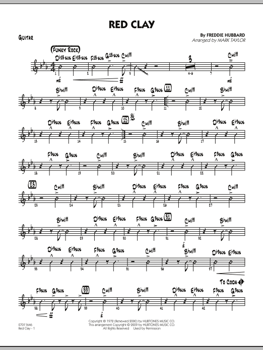 Mark Taylor Red Clay - Guitar sheet music preview music notes and score for Jazz Ensemble including 3 page(s)