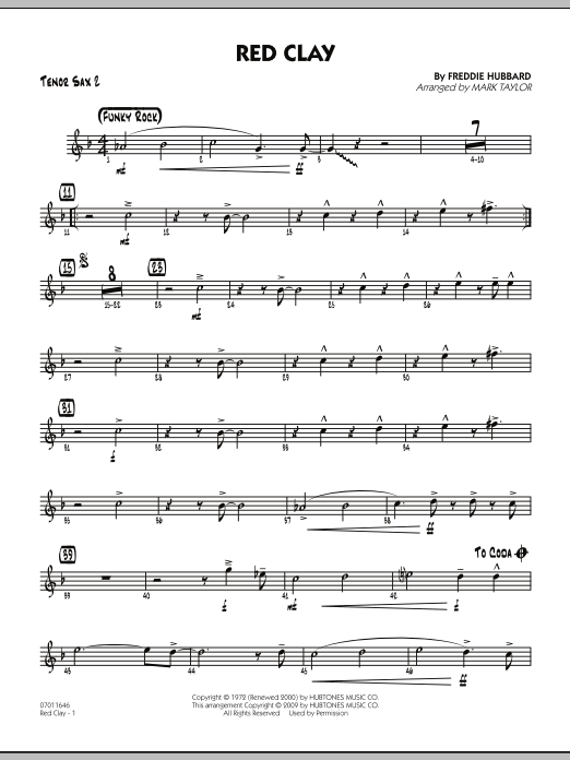 Mark Taylor Red Clay - Tenor Sax 2 sheet music preview music notes and score for Jazz Ensemble including 3 page(s)