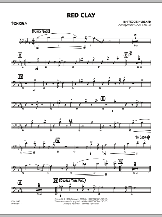 Mark Taylor Red Clay - Trombone 3 sheet music preview music notes and score for Jazz Ensemble including 2 page(s)