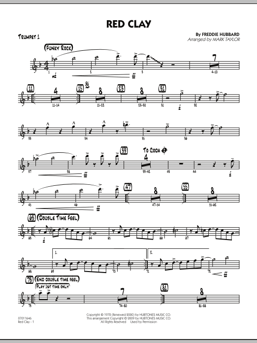 Mark Taylor Red Clay - Trumpet 1 sheet music preview music notes and score for Jazz Ensemble including 2 page(s)