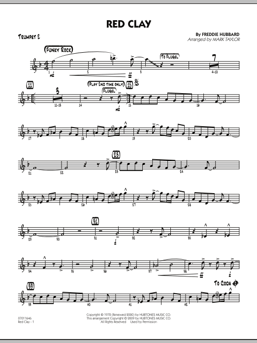 Mark Taylor Red Clay - Trumpet 2 sheet music preview music notes and score for Jazz Ensemble including 3 page(s)