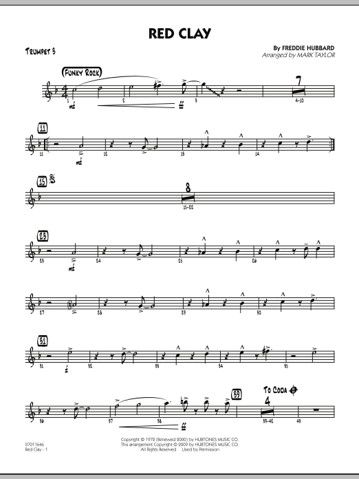 Mark Taylor Red Clay - Trumpet 3 sheet music preview music notes and score for Jazz Ensemble including 3 page(s)