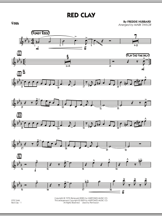Mark Taylor Red Clay - Vibes sheet music preview music notes and score for Jazz Ensemble including 3 page(s)