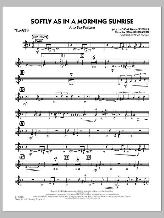 Mark Taylor Softly as in a Morning Sunrise - Trumpet 4 sheet music notes and chords