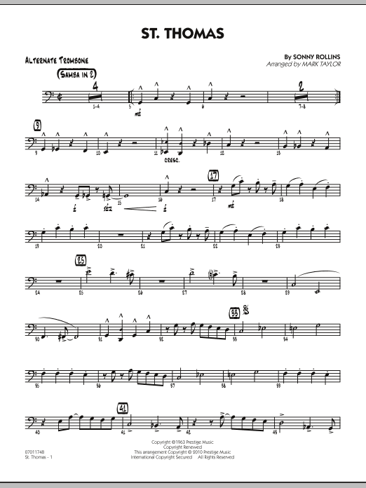 Mark Taylor St. Thomas - Alternate Trombone sheet music preview music notes and score for Jazz Ensemble including 2 page(s)