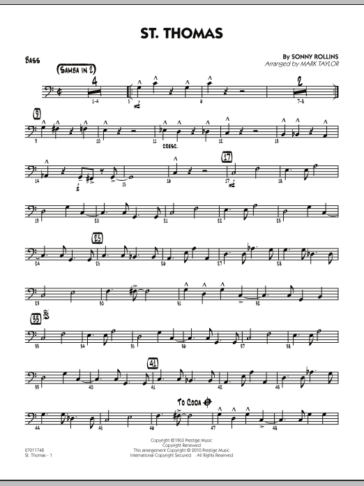 Mark Taylor St. Thomas - Bass sheet music preview music notes and score for Jazz Ensemble including 2 page(s)