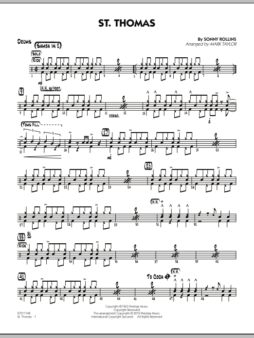 Mark Taylor St. Thomas - Drums sheet music preview music notes and score for Jazz Ensemble including 2 page(s)