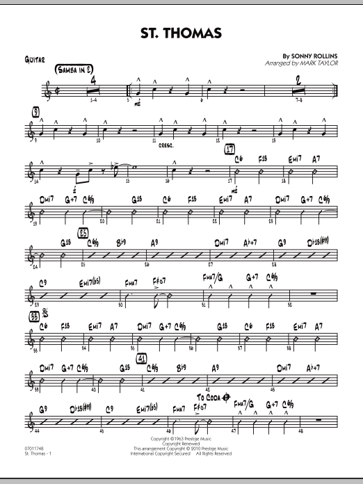 Mark Taylor St. Thomas - Guitar sheet music preview music notes and score for Jazz Ensemble including 2 page(s)