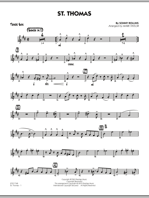 Mark Taylor St. Thomas - Tenor Sax sheet music preview music notes and score for Jazz Ensemble including 2 page(s)