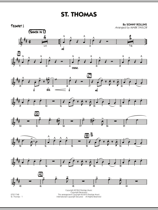 Mark Taylor St. Thomas - Trumpet 1 sheet music preview music notes and score for Jazz Ensemble including 2 page(s)