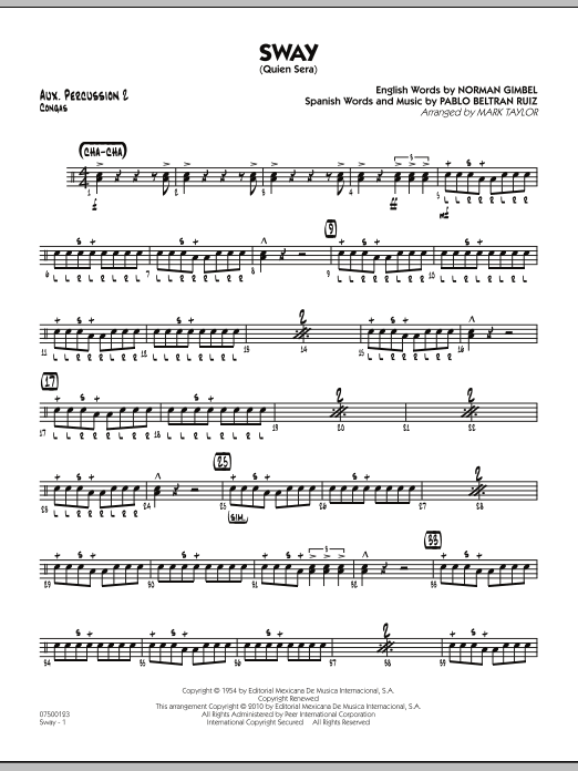 Mark Taylor Sway (Quien Sera) - Aux. Percussion 2 sheet music preview music notes and score for Jazz Ensemble including 2 page(s)
