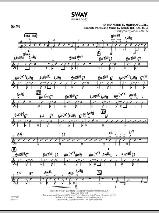 Mark Taylor Sway (Quien Sera) - Guitar sheet music preview music notes and score for Jazz Ensemble including 2 page(s)