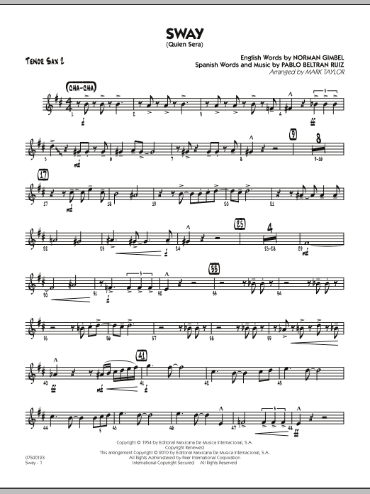 Mark Taylor Sway (Quien Sera) - Tenor Sax 2 sheet music preview music notes and score for Jazz Ensemble including 2 page(s)