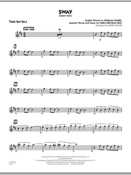 Mark Taylor Sway (Quien Sera) - Tenor Sax Solo sheet music preview music notes and score for Jazz Ensemble including 2 page(s)