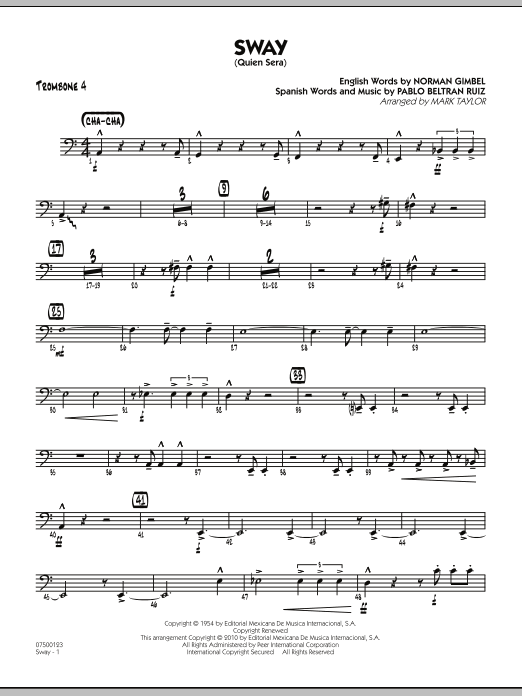 Mark Taylor Sway (Quien Sera) - Trombone 4 sheet music preview music notes and score for Jazz Ensemble including 2 page(s)