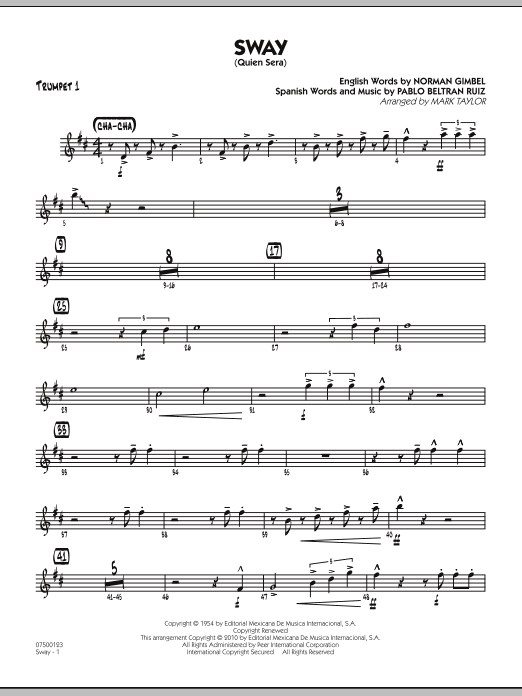 Mark Taylor Sway (Quien Sera) - Trumpet 1 sheet music preview music notes and score for Jazz Ensemble including 2 page(s)