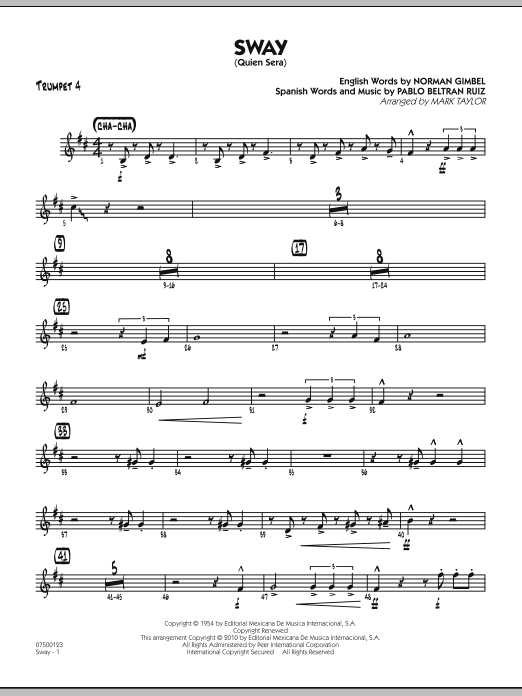 Mark Taylor Sway (Quien Sera) - Trumpet 4 sheet music preview music notes and score for Jazz Ensemble including 2 page(s)