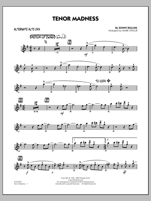 Mark Taylor Tenor Madness - Alternate Alto Sax sheet music notes and chords