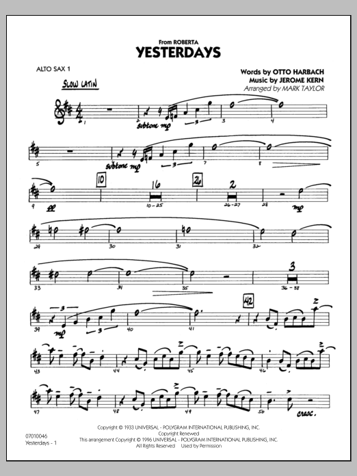 Mark Taylor Yesterdays - Alto Sax 1 sheet music preview music notes and score for Jazz Ensemble including 27 page(s)