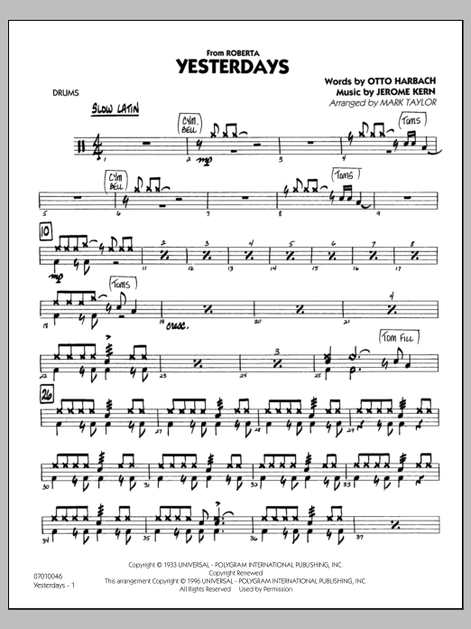 Mark Taylor Yesterdays - Drums sheet music preview music notes and score for Jazz Ensemble including 27 page(s)