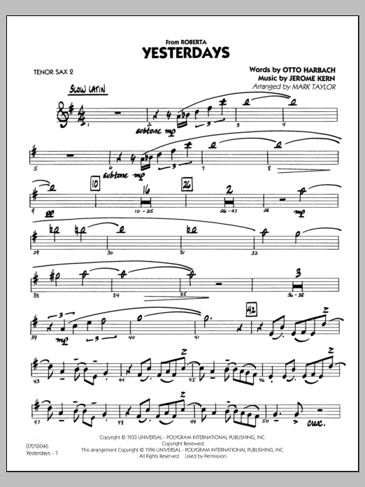 Mark Taylor Yesterdays - Tenor Sax 2 sheet music preview music notes and score for Jazz Ensemble including 27 page(s)