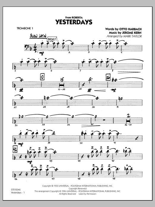 Mark Taylor Yesterdays - Trombone 1 sheet music preview music notes and score for Jazz Ensemble including 27 page(s)
