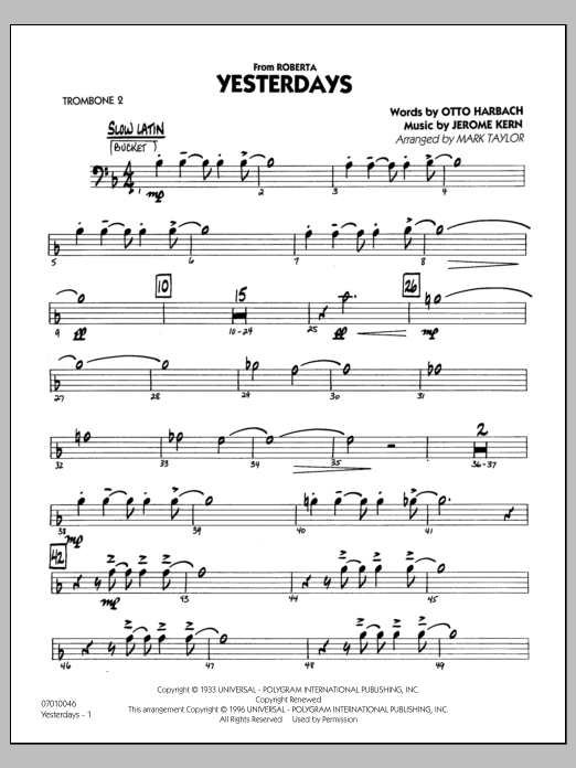 Mark Taylor Yesterdays - Trombone 2 sheet music preview music notes and score for Jazz Ensemble including 27 page(s)