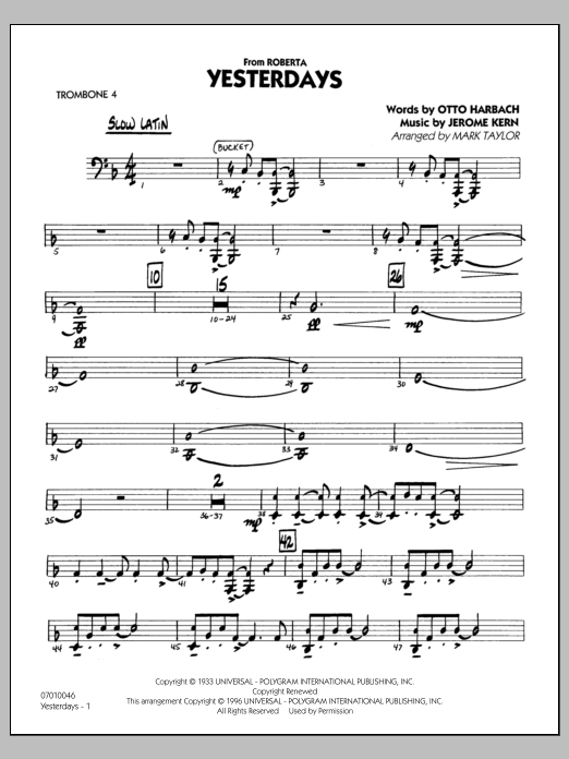 Mark Taylor Yesterdays - Trombone 4 sheet music preview music notes and score for Jazz Ensemble including 27 page(s)
