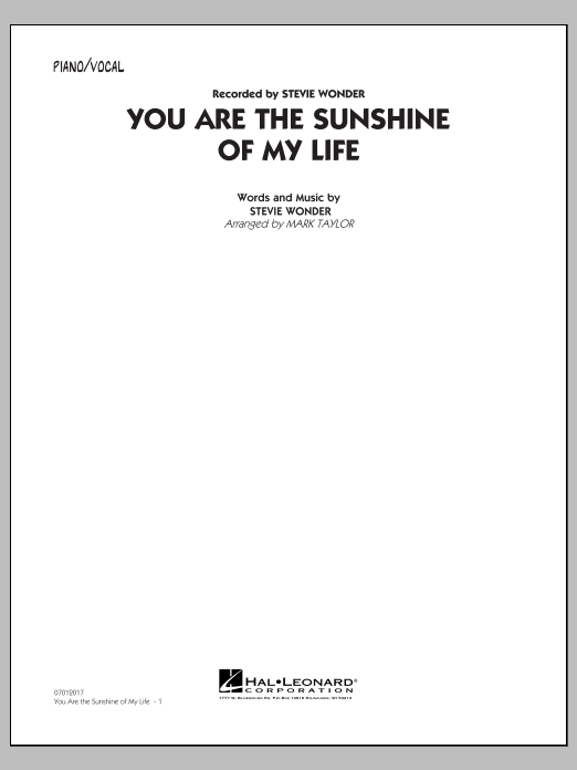 Mark Taylor You Are the Sunshine of My Life (Key: C) - Piano/Vocal sheet music notes and chords