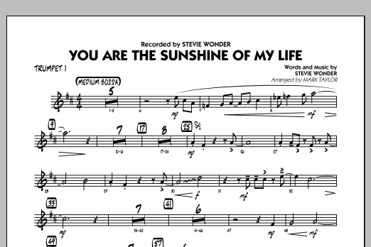 Mark Taylor You Are the Sunshine of My Life (Key: C) - Trumpet 1 sheet music notes and chords