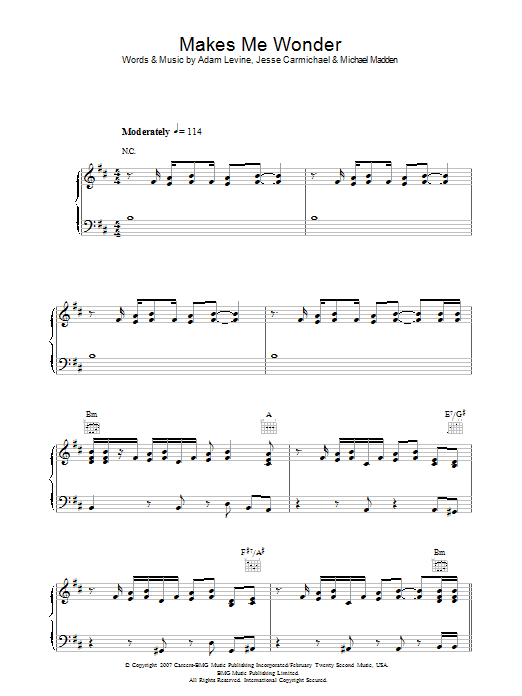 Maroon 5 Makes Me Wonder sheet music preview music notes and score for Piano, Vocal & Guitar (Right-Hand Melody) including 8 page(s)