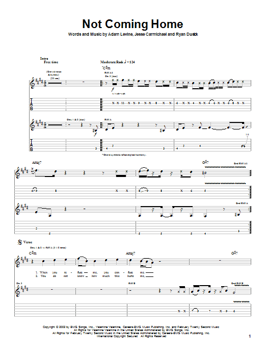Maroon 5 Not Coming Home sheet music preview music notes and score for Guitar Tab including 7 page(s)