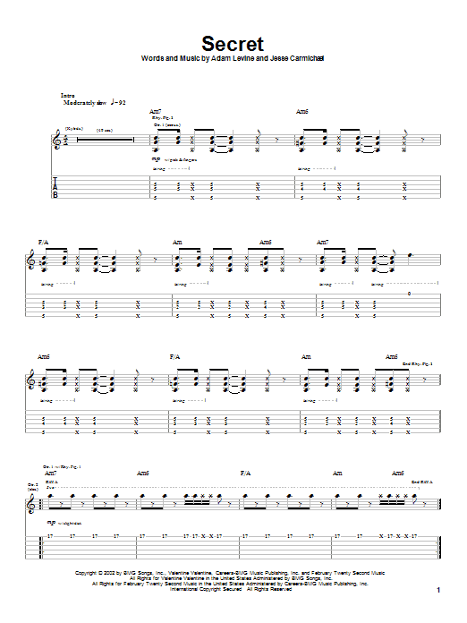 Maroon 5 Secret sheet music preview music notes and score for Guitar Tab including 6 page(s)