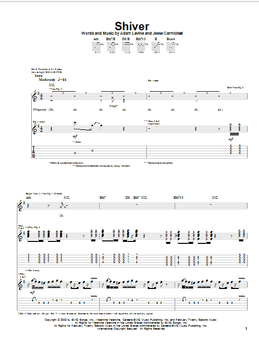Maroon 5 Shiver sheet music preview music notes and score for Piano, Vocal & Guitar (Right-Hand Melody) including 5 page(s)