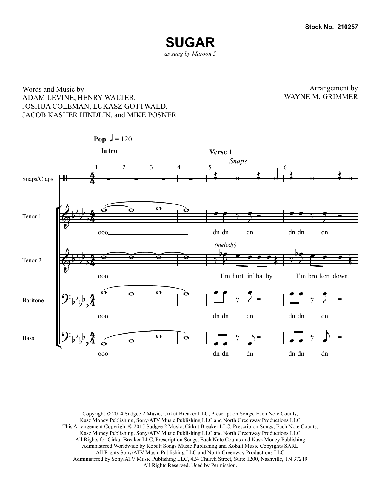 Maroon 5 Sugar (arr. Wayne Grimmer) sheet music preview music notes and score for TTBB Choir including 16 page(s)