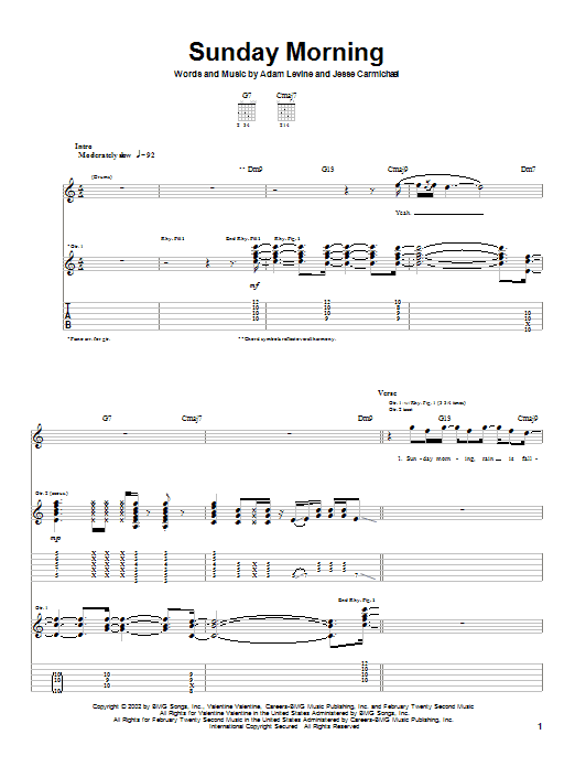Maroon 5 Sunday Morning sheet music preview music notes and score for Guitar Tab including 5 page(s)