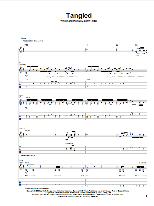 Maroon 5 Tangled sheet music preview music notes and score for Guitar Tab including 12 page(s)