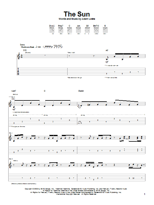 Maroon 5 The Sun sheet music preview music notes and score for Guitar Tab including 11 page(s)