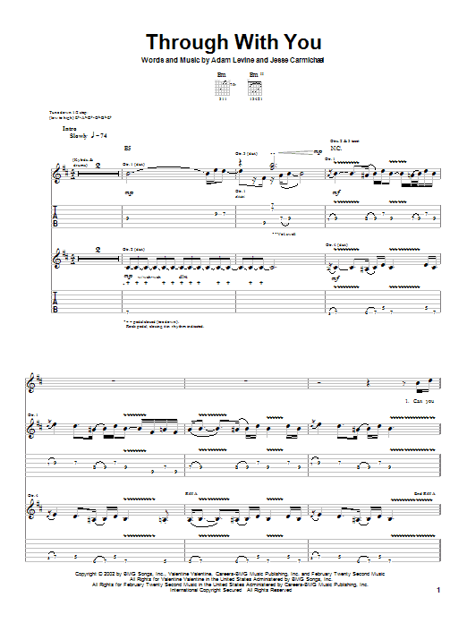 Maroon 5 Through With You sheet music preview music notes and score for Guitar Tab including 7 page(s)